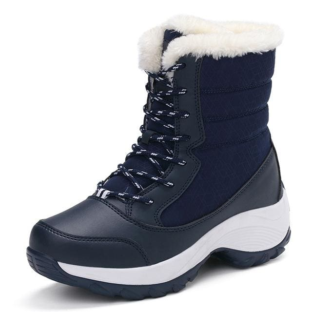 2017 women snow boots winter warm boots thick bottom platform waterproof ankle boots for women thick Blue / 5