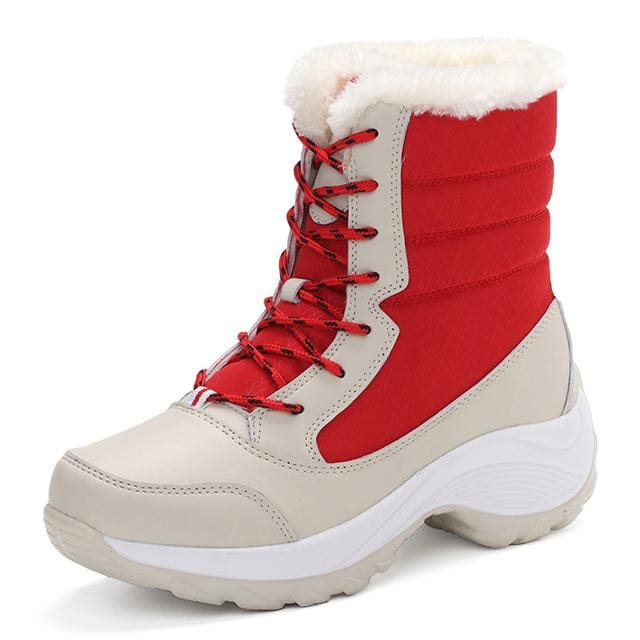 2017 Women Snow Boots Winter Warm Boots Thick Bottom Platform Waterproof Ankle Boots For Women Thick Red / 5