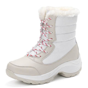 2017 women snow boots winter warm boots thick bottom platform waterproof ankle boots for women thick White / 5