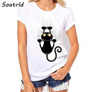 Womens Brand Clothing Summer Women T Shirt Short Sleeve O-neck Casual Funny Black Cat Tops Tees
