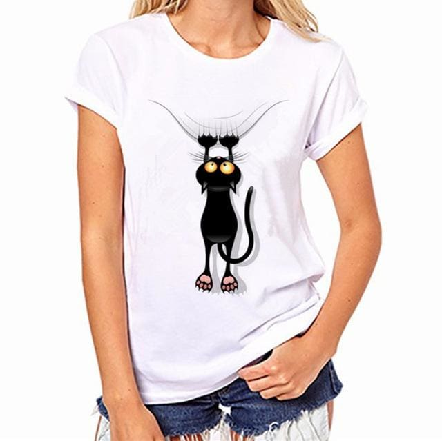 2017 Womens Brand Clothing Summer Women T Shirt Short Sleeve O-Neck Casual Funny Black Cat Tops Tees Womens T Shirt 001 / S