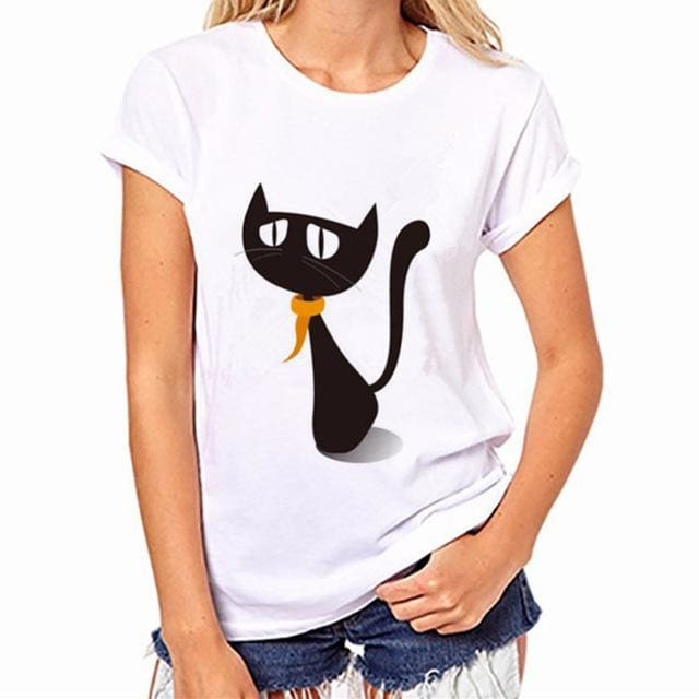 2017 Womens Brand Clothing Summer Women T Shirt Short Sleeve O-Neck Casual Funny Black Cat Tops Tees Womens T Shirt 005 / S