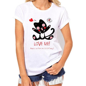 2017 Womens Brand Clothing Summer Women T Shirt Short Sleeve O-Neck Casual Funny Black Cat Tops Tees Womens T Shirt 009 / S