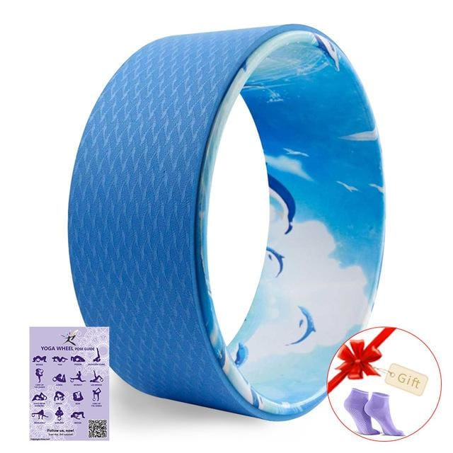 2017 Yoga Wheel Pilates Professional Tpe Yoga Circles Gym Workout Back Training Tool For Waist Shape Blue