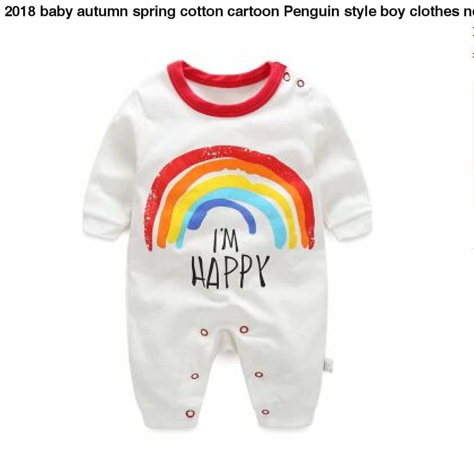 2018 baby autumn spring cotton cartoon Penguin style boy clothes newborn baby girl clothing infant caihong / 3M