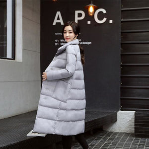 2018 Big Size Long Women Winter Jacket Coats Thick Warm Cotton Parkas Coat Female High Quality Red Wine / M