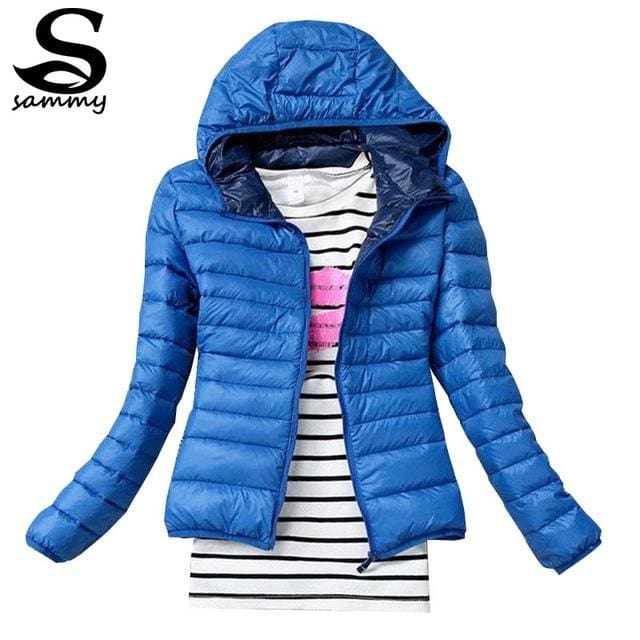 2018 Brand Autumn Spring Women Basic Jacket Female Slim Clothes Zipper Hooded Cotton Coats Casual Blue / Xs