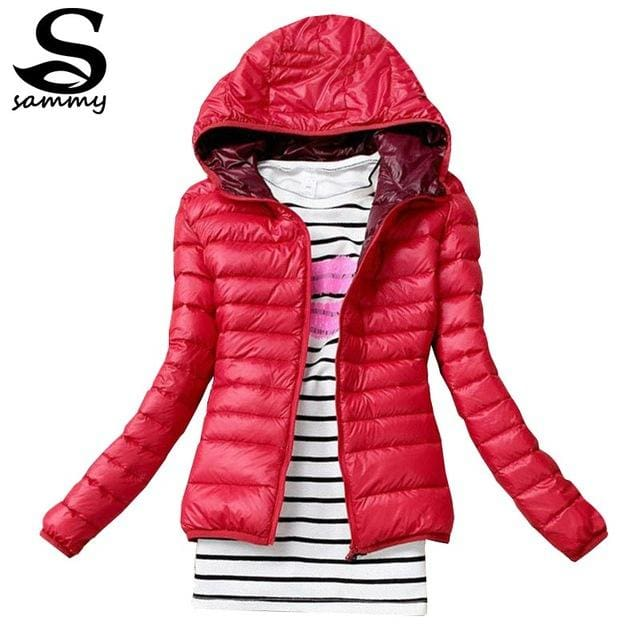 2018 Brand Autumn Spring Women Basic Jacket Female Slim Clothes Zipper Hooded Cotton Coats Casual Red / Xs