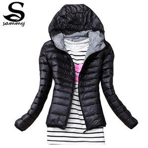 2018 Brand Autumn Spring Women Basic Jacket Female Slim Clothes Zipper Hooded Cotton Coats Casual Brown / Xs