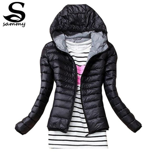 2018 Brand Autumn Spring Women Basic Jacket Female Slim Clothes Zipper Hooded Cotton Coats Casual Black / Xs