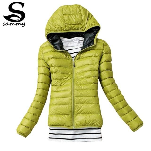 2018 Brand Autumn Spring Women Basic Jacket Female Slim Clothes Zipper Hooded Cotton Coats Casual Green / Xs