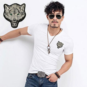 2018 Brand Men's Wolf embroidery Tshirt Cotton Short Sleeve T Shirt Spring Summer Casual Men's O - MBMCITY