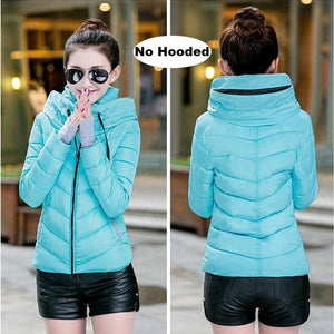 2018 Hooded Women Winter Jacket Short Cotton Padded Womens Coat Autumn Casaco Feminino Inverno Solid Sky Blue-No Hood / M