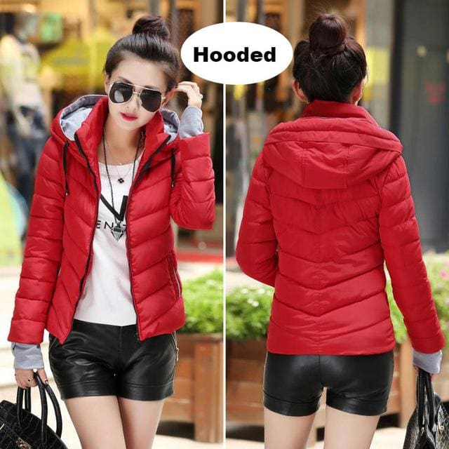 2018 Hooded Women Winter Jacket Short Cotton Padded Womens Coat Autumn Casaco Feminino Inverno Solid Red-Hood / M