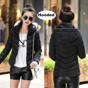2018 Hooded Women Winter Jacket Short Cotton Padded Womens Coat Autumn Casaco Feminino Inverno Solid Black-Hood / M