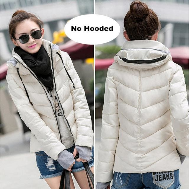 2018 Hooded Women Winter Jacket Short Cotton Padded Womens Coat Autumn Casaco Feminino Inverno Solid White-No Hood / M