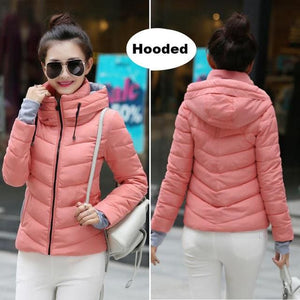 2018 Hooded Women Winter Jacket Short Cotton Padded Womens Coat Autumn Casaco Feminino Inverno Solid Pink-Hood / M