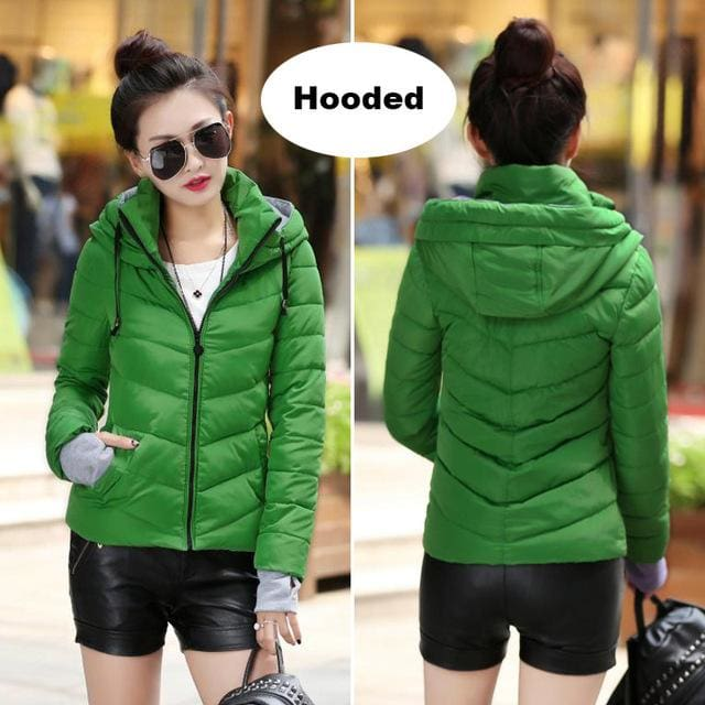 2018 Hooded Women Winter Jacket Short Cotton Padded Womens Coat Autumn Casaco Feminino Inverno Solid Green / M