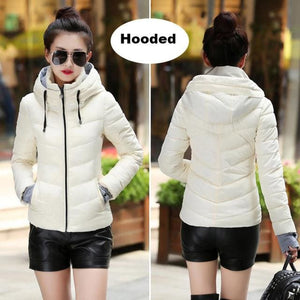 2018 Hooded Women Winter Jacket Short Cotton Padded Womens Coat Autumn Casaco Feminino Inverno Solid White-Hood / M