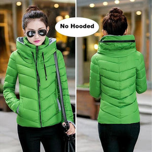 2018 Hooded Women Winter Jacket Short Cotton Padded Womens Coat Autumn Casaco Feminino Inverno Solid Green-No Hood / L