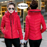 2018 Hooded Women Winter Jacket Short Cotton Padded Womens Coat Autumn Casaco Feminino Inverno Solid Red-No Hood / M