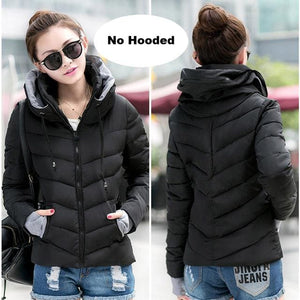 2018 Hooded Women Winter Jacket Short Cotton Padded Womens Coat Autumn Casaco Feminino Inverno Solid Black-No Hood / M