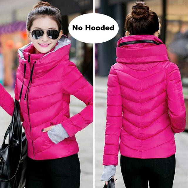 2018 Hooded Women Winter Jacket Short Cotton Padded Womens Coat Autumn Casaco Feminino Inverno Solid Rose-No Hood / M