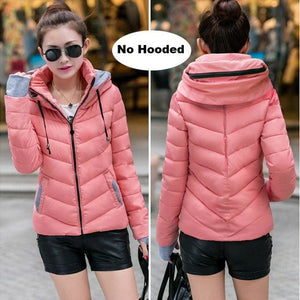 2018 Hooded Women Winter Jacket Short Cotton Padded Womens Coat Autumn Casaco Feminino Inverno Solid Pink-No Hood / M