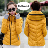 2018 Hooded Women Winter Jacket Short Cotton Padded Womens Coat Autumn Casaco Feminino Inverno Solid Orange-No Hood / M