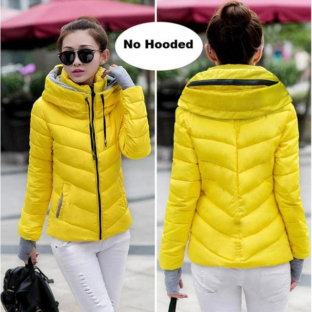 2018 Hooded Women Winter Jacket Short Cotton Padded Womens Coat Autumn Casaco Feminino Inverno Solid Yellow-No Hood / M