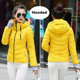 2018 Hooded Women Winter Jacket Short Cotton Padded Womens Coat Autumn Casaco Feminino Inverno Solid Yellow-Hood / M