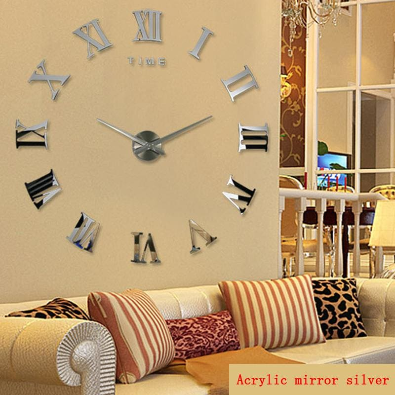 2018 hot real arrival digital mirror big wall clock modern living room quartz metal clocks free