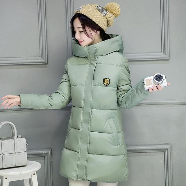 2018 Hot Sale Women Winter Hooded Jacket Female Outwear Cotton Plus Size 3Xl Warm Coat Thicken Light Green / M
