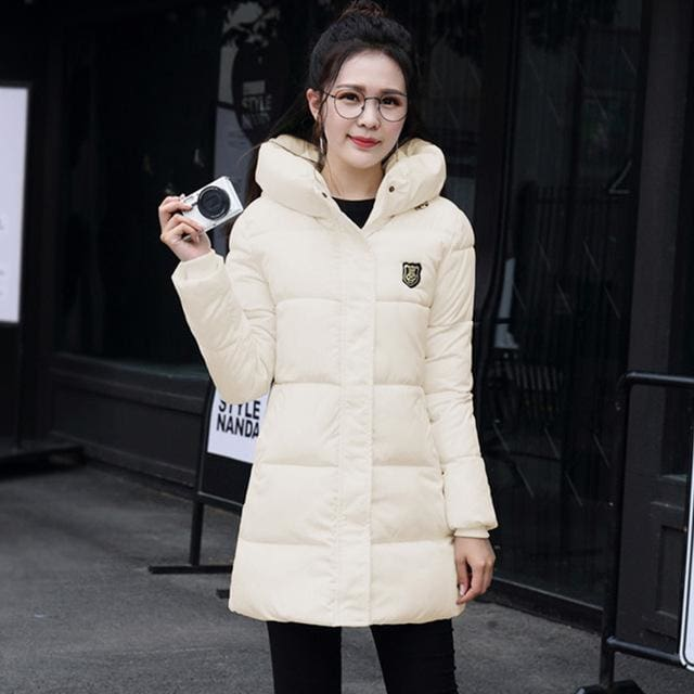 2018 Hot Sale Women Winter Hooded Jacket Female Outwear Cotton Plus Size 3Xl Warm Coat Thicken Beige / Xl