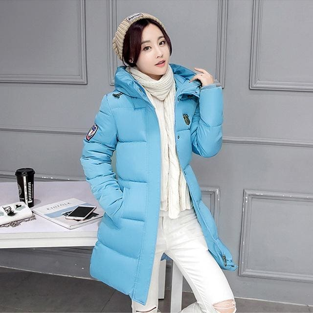 2018 Hot Sale Women Winter Hooded Jacket Female Outwear Cotton Plus Size 3Xl Warm Coat Thicken Light Blue / M