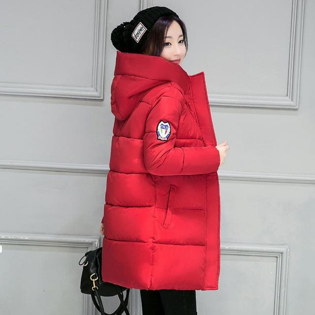 2018 Hot Sale Women Winter Hooded Jacket Female Outwear Cotton Plus Size 3Xl Warm Coat Thicken Red / M
