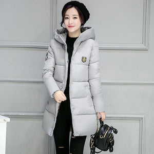 2018 hot sale women winter hooded jacket female outwear cotton plus size 3XL warm coat thicken grey / M