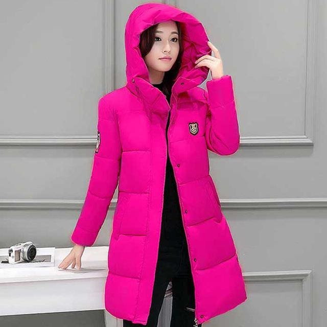 2018 Hot Sale Women Winter Hooded Jacket Female Outwear Cotton Plus Size 3Xl Warm Coat Thicken Rose Red / Xl