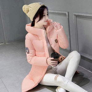 2018 hot sale women winter hooded jacket female outwear cotton plus size 3XL warm coat thicken Y-Pink / XL