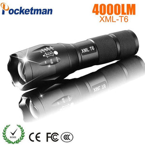 2018 LED Flashlight 18650 torch waterproof  rechargeable  XM-L T6 4000LM 5 mode led Zoomable light.