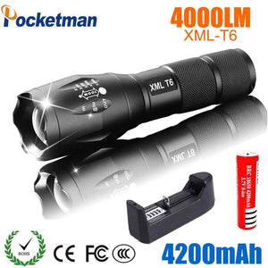 2018 LED Flashlight 18650 torch waterproof  rechargeable  XM-L T6 4000LM 5 mode led Zoomable light - MBMCITY
