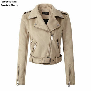 2018 New Arrial Women Autumn Winter Suede Faux Leather Jackets Lady Fashion Matte Motorcycle Coat X009 Light Blue / S