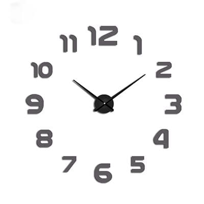 2018 New Clock Watch Wall Clocks Horloge 3D Diy Acrylic Mirror Stickers Home Decoration Living Room Gray