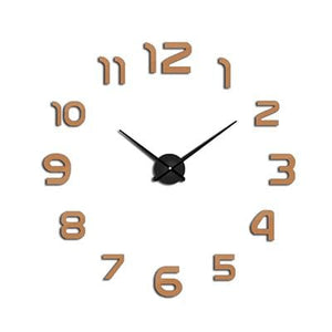 2018 New Clock Watch Wall Clocks Horloge 3D Diy Acrylic Mirror Stickers Home Decoration Living Room Chocolate