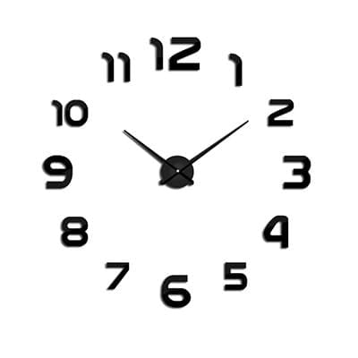 2018 New Clock Watch Wall Clocks Horloge 3D Diy Acrylic Mirror Stickers Home Decoration Living Room Black