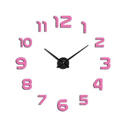 2018 New Clock Watch Wall Clocks Horloge 3D Diy Acrylic Mirror Stickers Home Decoration Living Room Pink