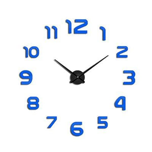 2018 New Clock Watch Wall Clocks Horloge 3D Diy Acrylic Mirror Stickers Home Decoration Living Room Blue