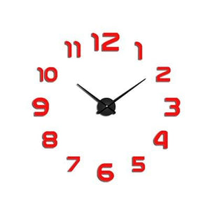 2018 New Clock Watch Wall Clocks Horloge 3D Diy Acrylic Mirror Stickers Home Decoration Living Room Red