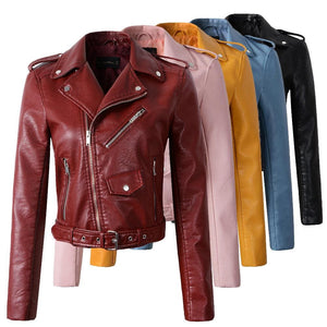 2018 New Fashion Women Autunm Winter Wine Red Faux Leather Jackets Lady Bomber Motorcycle Cool