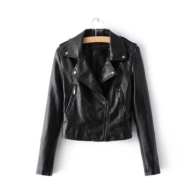 2018 New Fashion Women Casual Motorcycle Faux Soft Leather Jackets Female Winter Autumn Brown Black 1603Black / S